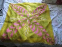 Vintage VERA NEUMANN Rayon/Scarf Veracrepe Gold Pink Green Abstract Leaves 26""