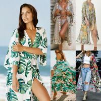 Women Ladies Floral Beach Kimono Blouse Chiffon Cardigan Shawl Cover up Tops