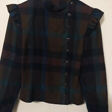 Perry Ellis Women's Side Button Plaid Jacket/top Wool Brown/multi Color Size 10
