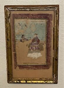 200+ Year Old Mughal Mogul Moghul King & Queen Miniature Art Painting , Signed?
