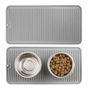 mDesign Silicone Pet Food,Water Bowl Feeding Mat for Dogs, Small, 2 Pack - Gray