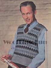 Vintage Knitting Patterns Men's 1940s Classic Fair Isle Slip Over/Tank Top