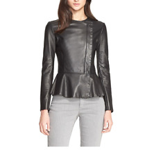 Armani Collezioni 2763 Women's Black Lambskin Leather Peplum Jacket Sz 4 $1985