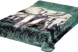 Solaron Korean Blanket original Thick Mink Plush queen size Elephant green New