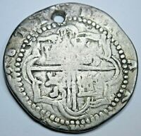 1500's Spanish Silver 2 Reales Genuine Antique Colonial Two Bits Pirate Cob Coin