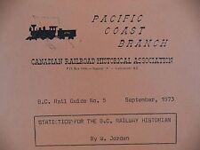 CRHA BC Rail Guide Statistics Book 1973 Jordan Pacific Coast Branch Railroad