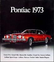 1973 Pontiac Sales Catalog Grand Prix LeMans Bonneville GTO Trans Am Firebird
