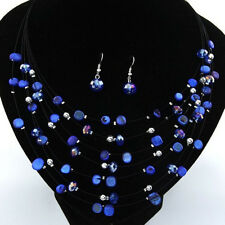 Beaded Multi Strand Necklace and Drop/Dangle Earring Set-Blue P3H7