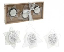Christmas Shaped Tealight Candle Set and Holders Silver - Holder Tree Star