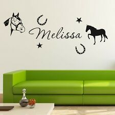 Custom Personalised Name Horse Star Wall Stickers Boy Kids Vinyl Decal Decor DIY