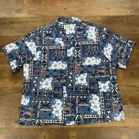 KYS Hawaiian Mens Shirt Blue Tapa Traditional Art All Over Print