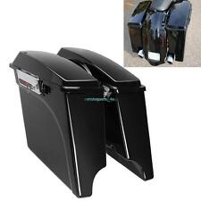 "4"" Vivid Black Saddlebag Stretched For Harley Touring Electra Street Road Glide"
