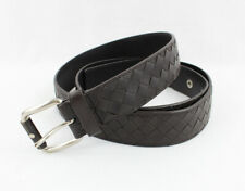 Bottega Veneta Men's Dark Brown Intrecciato Leather Belt Size 115 / 46