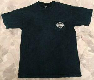 Harley-Davidson Motorcyles Mens Sz Large L Pocket T-Shirt! Teal / Black Tie Dye!