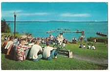 Group MEN BOYS SITTING View of LAKE MONONA Madison Wisconsin Postcard 1951 1957