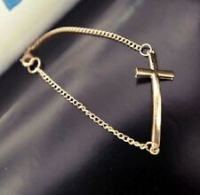 BRACELET CROIX CRUCIFIX ALLONGEE COULEUR OR