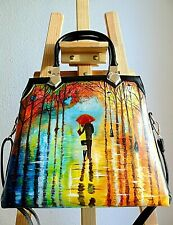 Hand painted leather bag/Vegan leather shoulder bag/ladies purse/colourful bag