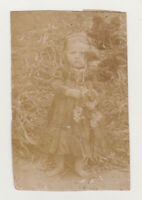 Cute Angry Little Girl Kid Child Angel Face 1910s Snapshot Antique Old Photo