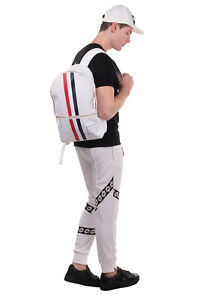 RRP €1165 THOM BROWNE Unstructured Backpack Large Coated Stripes Zip Closure