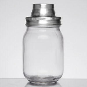 Tablecraft Glass 3-Piece Mason Jar Cocktail Shaker (select size below)