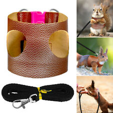 Leather Small Animal Harness & Leash Guinea Pig Ferret Hamster Squirrel Rat M L