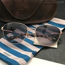 Fossil FOS2028/S Rose Gold Tone Metal Frame Cat-Eye Sunglasses NWT Case