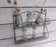 Rustic Whitewashed 2 Tier Metal Rack Shelf, Kitchen or Bathroom, Storage, Spices