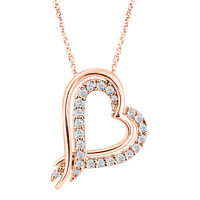 925 Sterling Silver Round Diamond Heart Pendant Necklace 14k Rose Gold Plated