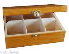 Wooden Tea Box Tea Bag Chest  6 CompartmentTea Caddy Kitchen Laquered Alder H6o