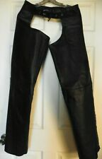 ZR One Black Leather Chaps Size Small Waist size 29-38 Zipper/snap