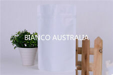 100X 500G(1,300ML) PLASTIC STAND UP POUCH BAG, MATTE WHITE, WITH ZIP LOCK