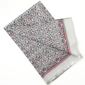 100% Silk Mulberry twill Scarf men neckerchief Wrap Paisley gray blue red MN7-9