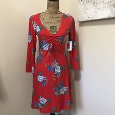 Women's Plus Size Red Floral Skater Dress V-neck 3X