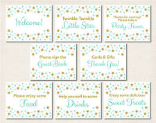 Twinkle Little Star Mint Green Gold Baby Shower Table Signs - 8 Printable Signs