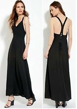 FOREVER 21 Contemporary Maxi Black Dress Lace-Up Y-Back Polyester Solid Size XS