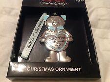 NEW STUDIO DESIGN baby's first Christmas 2016 boy blue  teddy bear ornament