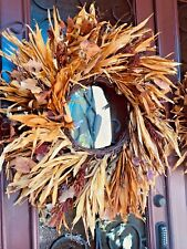 Grandinroad Halloween Fall Autumn Cornstalk & Leaf Wreath 30""