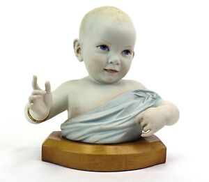 """Cybis Porcelain Limited Edition """"Baby Bust"""" on a Wooden Base"""