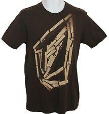Volcom Graphic USA Medium M Short Sleeve T Shirt Brown Cotton Surf Surfing Skate