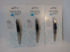 THREE (3) CVS Beauty 360 DELUXE CURVED TWEEZERS Non Slip Slant Tip Stainless