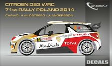 DECALS 1/43 CITROËN DS3 WRC #4 - OSTBERG -RALLYE DE POLOGNE 2014 -MF-ZONE D43327