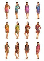 Ladies Looking Glam Tribal Print Kaftan Tunic  Summer Top Midi Dress
