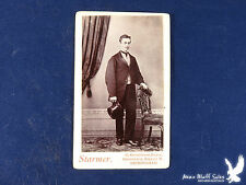 Starmer Birmingham UK Antique CDV Portrait Man Stove Pipe Top Hat Clear Image