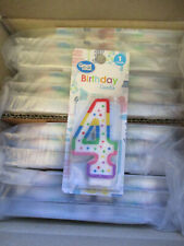 """CASE OF 48 NEW INDIVIDUAL 3"""" Numeric Birthday Candles (Number 4 )  New UF5"""