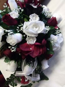 LARGE WEDDING BOUQUET WHITE AND BURGUNDY WITH  BOUTIONEER AND ATTENDANT BOUQUET