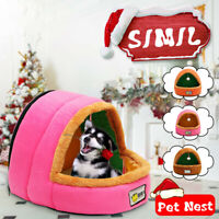 Pet Cat Dogs House Kennel Puppy Cave Sleeping Bed Soft Mat Pad Winter Warm Nest