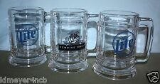 TRIO OF VINTAGE MILLER LITE & GENUINE DRAFT GLASS BEER MUGS