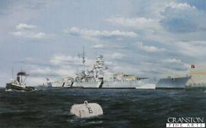 Kriegsmarine German Naval art print Battleship Bismarck Gottenhaven ltd ed