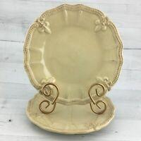 Artimino FLEUR DE LIS CREAM Embossed Scallop Trim Earthenware Salad Plates Set 2