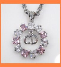 CIRCLE PENDANT AUSTRIAN CRYSTAL NECKLACE JEWELRY -PINK